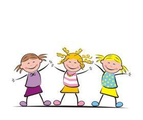 Three jumping girls vector