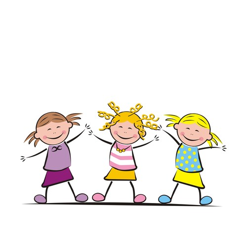 Three jumping girls vector