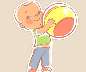 Toddler holding ball vector