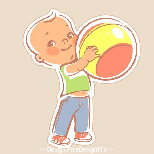 Toddler holding ball vector