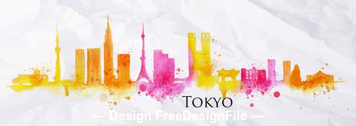 Tokyo watercolor city silhouette vector