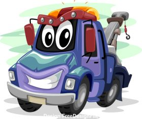 Tow truck cartoon vector