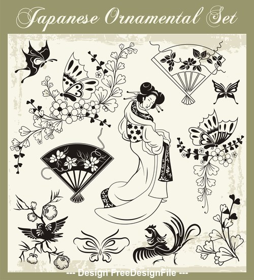 Traditional japanese decoration illustration vector
