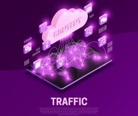 Traffic isometric symbols vector