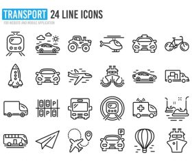 Transport icon collection vector