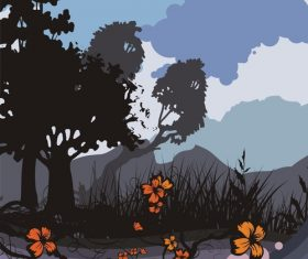 Tree silhouette background vector