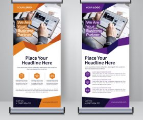 Two-color roll and banner design template vector