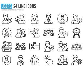 USERS icon collection vector