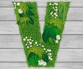 V floral letters vector