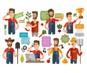 Vector icons farmer