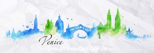 Venice watercolor city silhouette vector