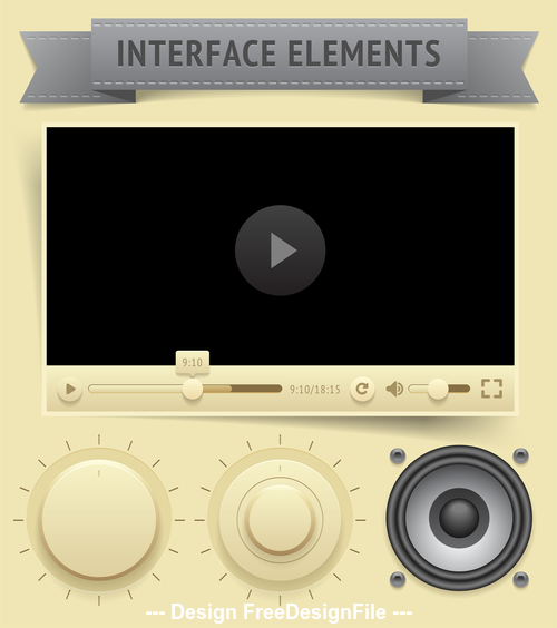 Video interface button design element vector