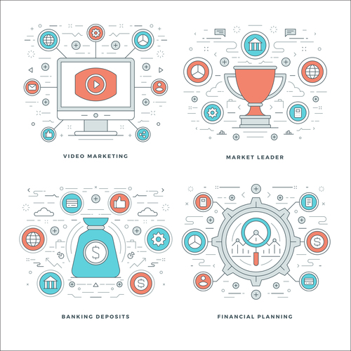 Video marketing info template vector