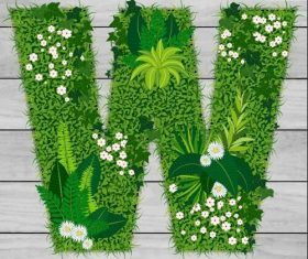 W floral letters vector