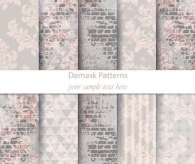 Wall background damask patterns vector
