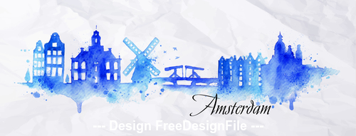 Watercolor city silhouette vector