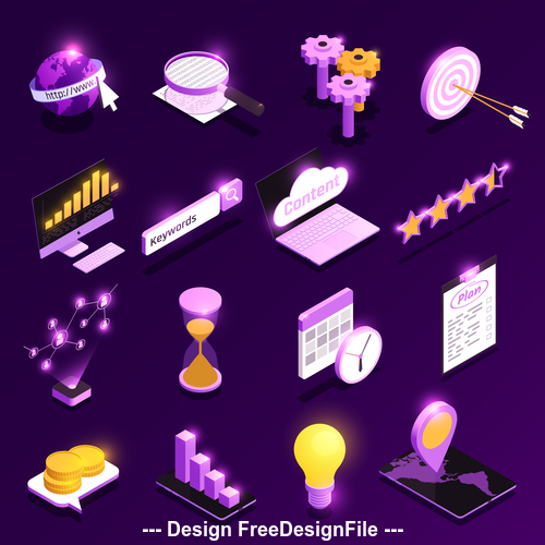 Web seo isometric vector