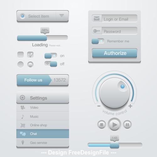 Website interface button design element vector