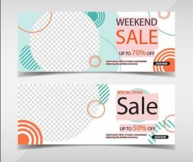 Weekend promotion banners template vector
