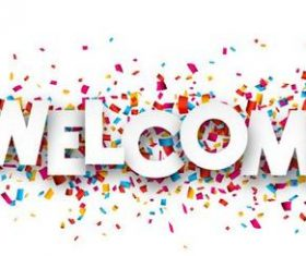 Welcome font and confetti vector
