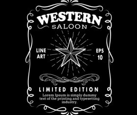 Western hand drawn frame border label vector illustration