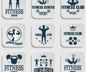 White fitness icon vector