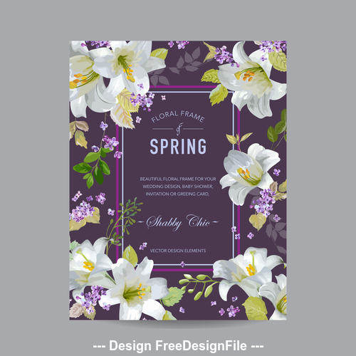 White floral frame card vector