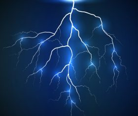 White lightning on blue background vector