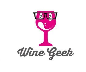 Wine geek logo vector