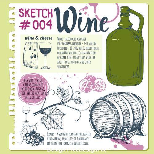 Wine sketch illustration vector