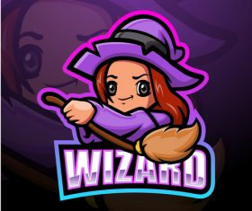 Wizard mascot design vector