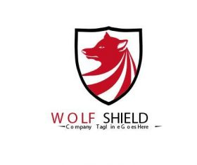 Wolf shield logo vector