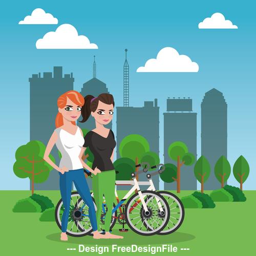 Woman and bike vector