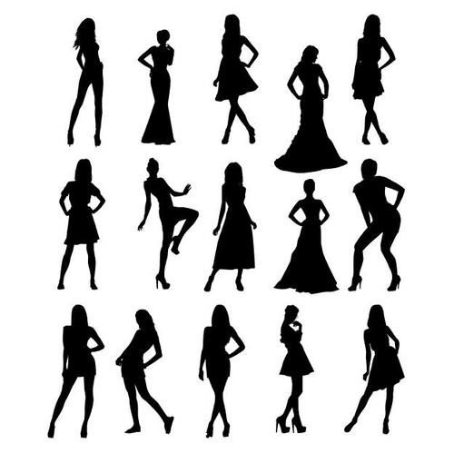 Woman silhouettes in different poses vector