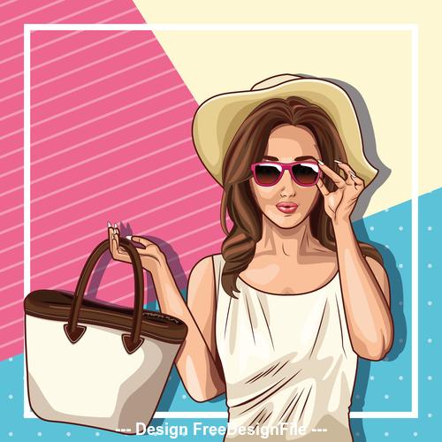 Woman with a handbag pop art illustration style vector
