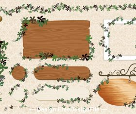 Wooden board frame and leaves vector