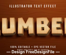 Wooden editable font effect text vector