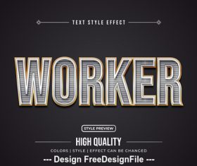 Worker editable font effect text vector