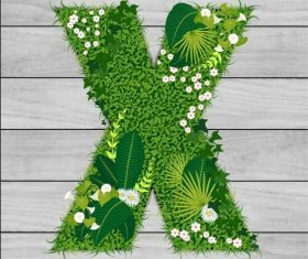 X floral letters vector