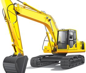 Yellow excavator cartoon vector