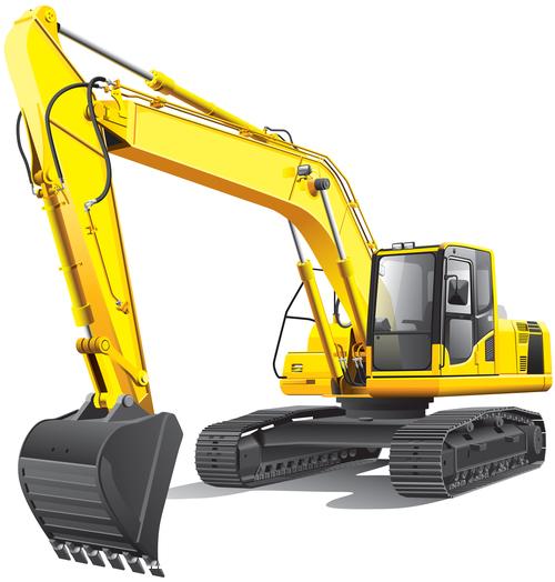 Yellow excavator cartoon vector