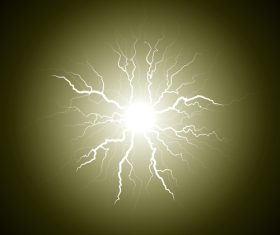 Yellow lightning from the center vector