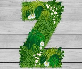 Z floral letters vector