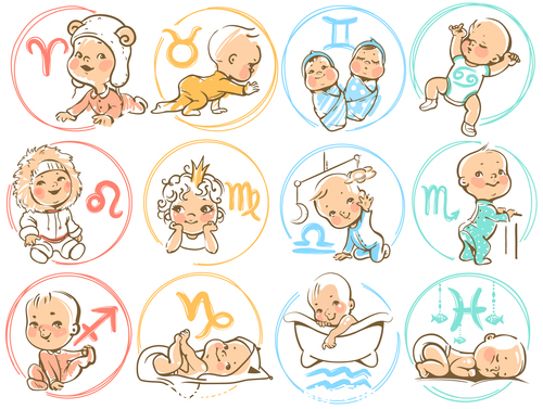 Zodiac Sign Baby vector