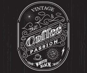 vintage frame border coffee label design badge elements vector
