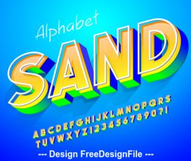 3D editable font effect text vector