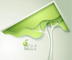 3D plant paper cut vector