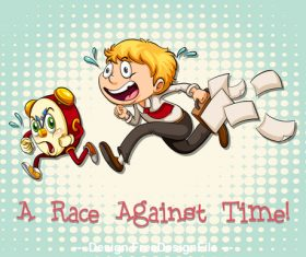 A race against time cartoon vector