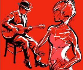 Abstract musicians illustration vector