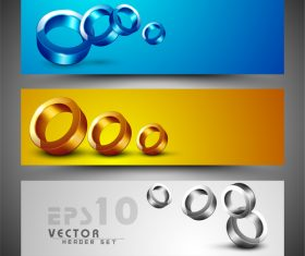 Abstract tricolor banner collection vector